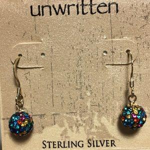Multi-color rhinestone earrings.